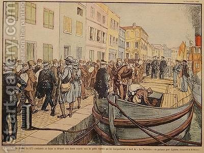 Convicts leaving Saint Martin de Re for the penal colony of Cayenne in Guyana by A. R. Moritz - Reproduction Oil Painting