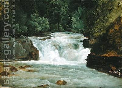 A Waterfall in Upper Bavaria 1830 by Christian Morgenstern - Reproduction Oil Painting