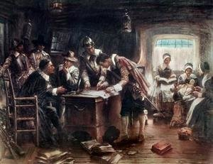 Famous paintings of Furniture: The Signing of the Mayflower Compact 1900