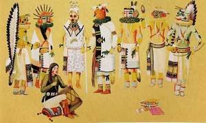 Waldo Mootzka reproductions - Group of Kachinas 1933