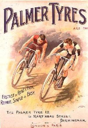 Famous paintings of Bicycling: Poster advertising the Palmer Tyres 1890