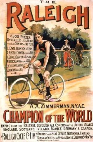 Famous paintings of Bicycling: Poster advertising cycles Raleigh