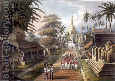 The Principal Approach to the Great Dagon Pagoda at Rangoon by (after) Moore, Joseph - Reproduction Oil Painting