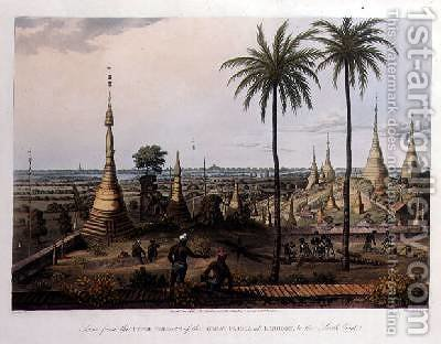 Scene from the Upper Terrace of the Great Pagoda at Rangoon to the South East by (after) Moore, Joseph - Reproduction Oil Painting