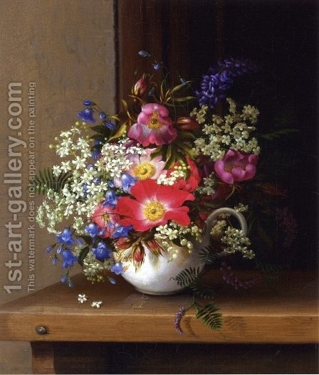 Still Life with Dog Roses, Larkspur and Bell Flowers in a White Cup by Adelheid Dietrich - Reproduction Oil Painting