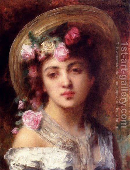 The Flower Girl by Alexei Alexeivich Harlamoff - Reproduction Oil Painting