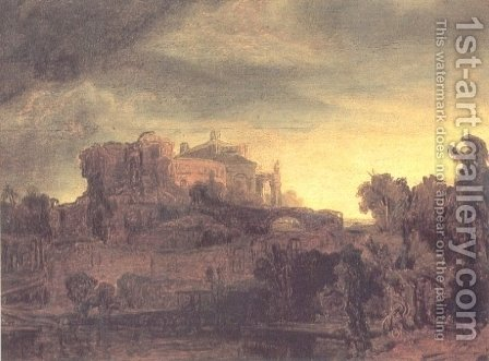 Landscape with a Castle by Rembrandt - Reproduction Oil Painting