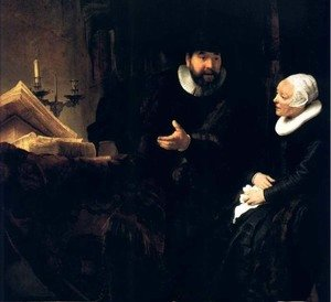 Reproduction oil paintings - Rembrandt - Le Predicateur Menonite Cornelis,berlin 1640