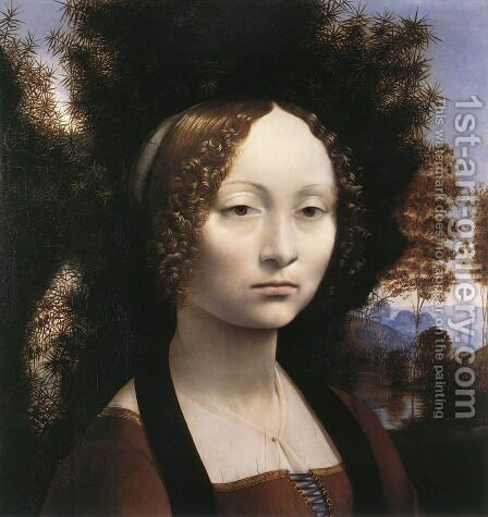 Leonardo Da Vinci: Portrait of Ginevra de Benci - reproduction oil painting