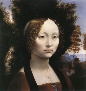 Famous paintings of Trees: Portrait of Ginevra de Benci