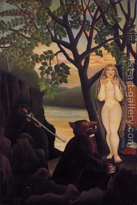 Mauvaise surprise by Henri Julien Rousseau - Reproduction Oil Painting
