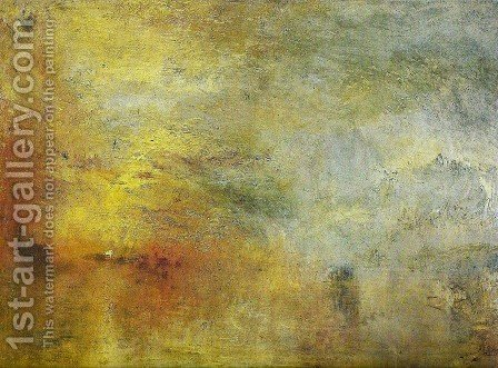 Turner: Sun Setting over a Lake - reproduction oil painting