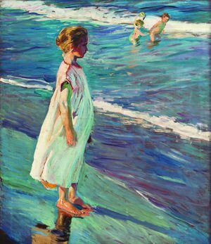 Famous paintings of Nautical: Girl on the beach