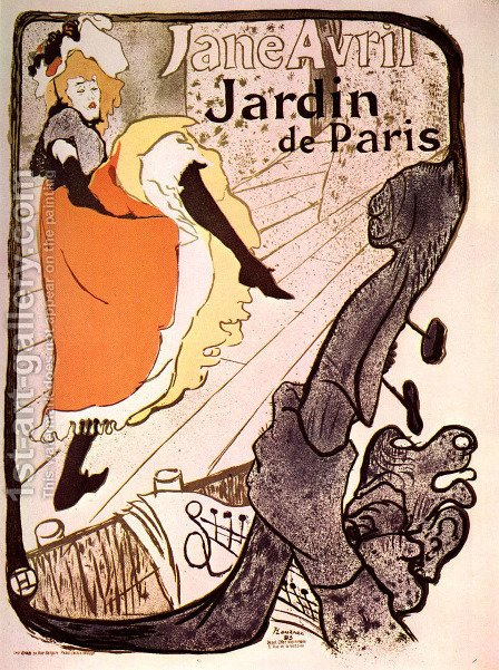 Jane Avril, Jardin de Paris by Toulouse-Lautrec - Reproduction Oil Painting