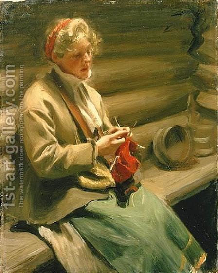 Girl from Dalecarlia knitting by Anders Zorn - Reproduction Oil Painting