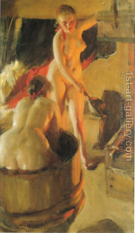 Girls from Dalarna in the sauna by Anders Zorn - Reproduction Oil Painting