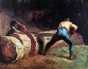 Reproduction oil paintings - Jean-Francois Millet - Forest workers in the wood saws