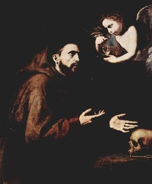 Reproduction oil paintings - Jusepe de Ribera - St. Francis of Assisi and the angel with the water bottle