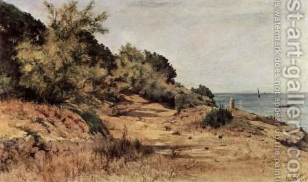 A forested beach by Giovanni Fattori - Reproduction Oil Painting