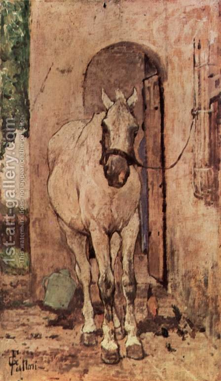 A white horse in front of a door by Giovanni Fattori - Reproduction Oil Painting