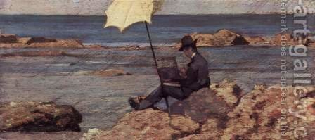 Silvestro Lega, in Riva al Mare malend by Giovanni Fattori - Reproduction Oil Painting