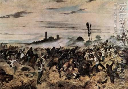 The attack on the Madonna Scoperta (The Battle of Montebello) 2 by Giovanni Fattori - Reproduction Oil Painting