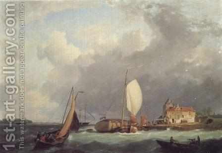 Shipping off the Dutch Coast 1 by Hermanus Jr. Koekkoek - Reproduction Oil Painting