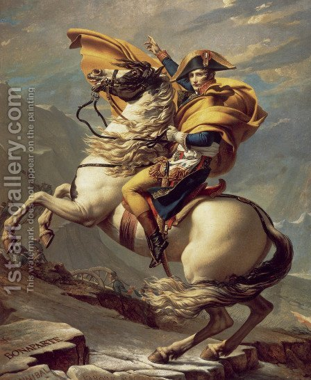 Jacques Louis David: Napoleon Crossing the Alps - reproduction oil painting