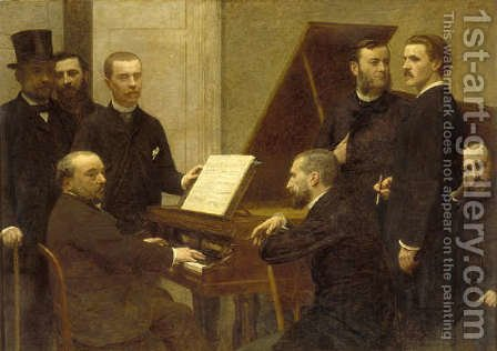 Around the piano by Ignace Henri Jean Fantin-Latour - Reproduction Oil Painting