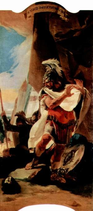 Reproduction oil paintings - Giovanni Battista Tiepolo - Hannibal sees the head of the Hasdrubal, from paintings of Roman history cycle for the Palazzo in Ve