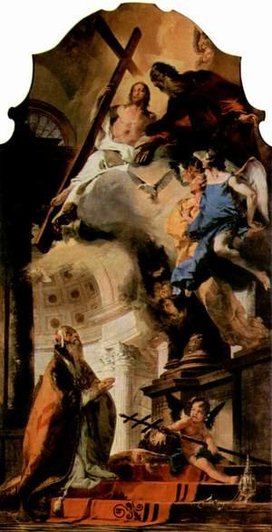 Reproduction oil paintings - Giovanni Battista Tiepolo - The Pope Clement I pray to the Holy Trinity