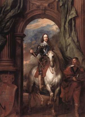 Sir Anthony Van Dyck reproductions - Portrait Karl I, king of England, to horse with his stable master Saint Antoine
