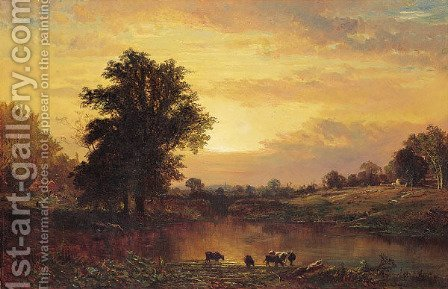 Sunset in the Catskills by Alfred Thompson Bricher - Reproduction Oil Painting