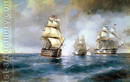 Brig Mercury Attacked by Two Turkish Ships 1892 by Ivan Konstantinovich Aivazovsky - Reproduction Oil Painting