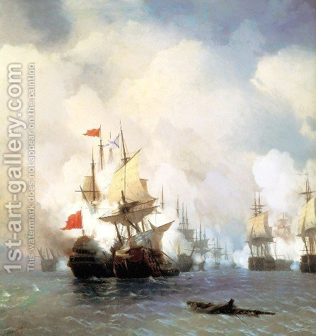 Battle of Chios on 24 June by Ivan Konstantinovich Aivazovsky - Reproduction Oil Painting