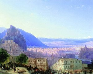 Reproduction oil paintings - Ivan Konstantinovich Aivazovsky - View of Tiflis (Tbilisi) in 1868