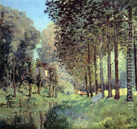 Le repos au bord d'un ruisseau by Alfred Sisley - Reproduction Oil Painting