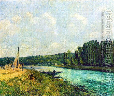 Les berges de l'Oise by Alfred Sisley - Reproduction Oil Painting
