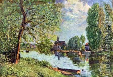 River landscape Moret-sur-Loing by Alfred Sisley - Reproduction Oil Painting