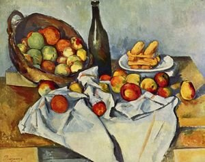 Reproduction oil paintings - Paul Cezanne - Still life with bottle and apple basket