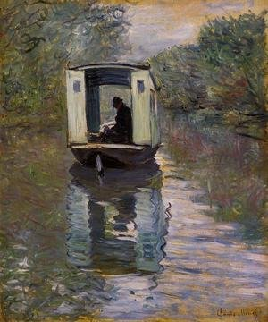 Famous paintings of Trees: Le Bateau Atelier (The Boat Studio)