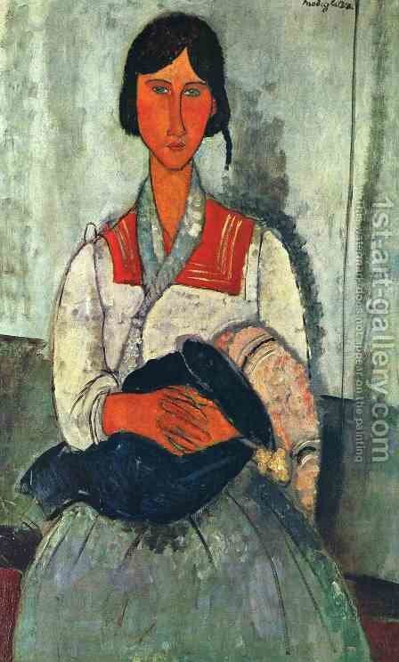 Gypsy Woman with Baby by Amedeo Modigliani - Reproduction Oil Painting