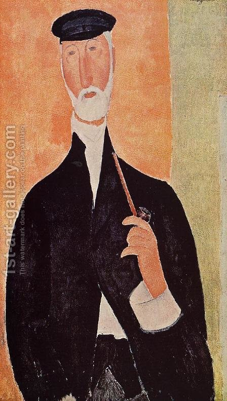 Man with a Pipe (aka The Man from Nice) by Amedeo Modigliani - Reproduction Oil Painting