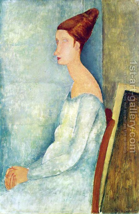 Portrait of Jeanne Hebuterne Seated in Profile by Amedeo Modigliani - Reproduction Oil Painting