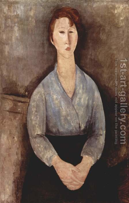 Seated Woman with a blue blouse by Amedeo Modigliani - Reproduction Oil Painting
