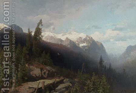 Mountain Pass by Herman Herzog - Reproduction Oil Painting