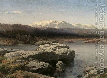 Rocky Landscape by Herman Herzog - Reproduction Oil Painting