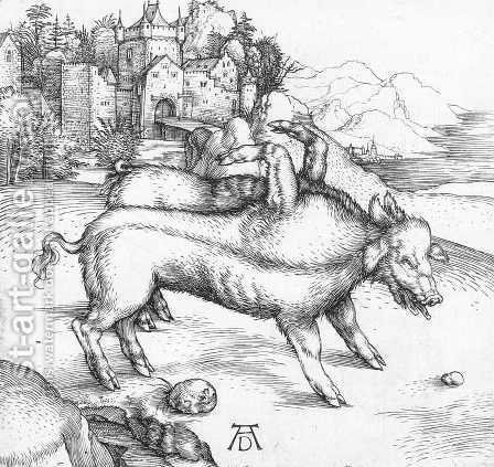 The Deformed Landser Sow by Albrecht Durer - Reproduction Oil Painting