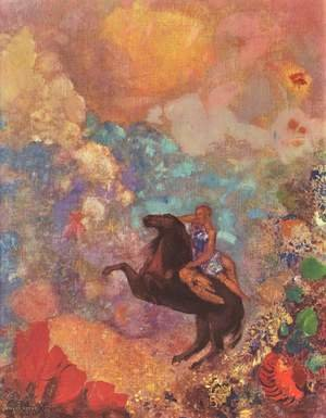 Reproduction oil paintings - Odilon Redon - Muse on Pegasus