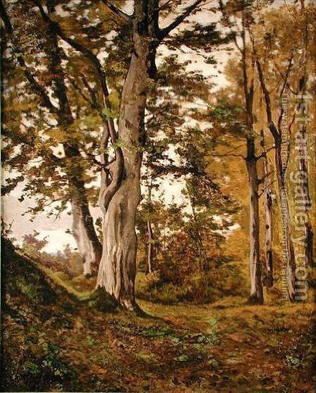 Forest at Fontainebleau by Henri-Joseph Harpignies - Reproduction Oil Painting